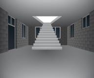 Interior da casa sob a construção com escadaria  Foto de Stock Royalty Free