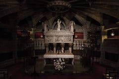Interior da catedral da cruz e de Saint santamente Eulalia, o 31 de março de 2013 em Barcelona, Espanha Fotografia de Stock Royalty Free
