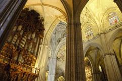 Interior da catedral de Sevilha, Spain Imagem de Stock Royalty Free
