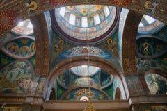 Interior da catedral de St Panteleimon o grande mártir em Athos Monastery novo A catedral, construída em 1888-1900 imagem de stock royalty free