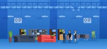 Interior da construção do supermercado Mobília de caso da venda dos vendedores ao comprador ilustração royalty free