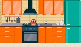 Interior da cozinha com mobília ilustração royalty free