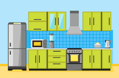 Interior da cozinha com mobília e dispositivos Fotografia de Stock