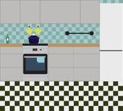 Interior da cozinha com mobília Ilustração lisa do vetor ilustração stock