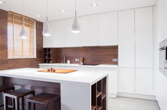 Interior da cozinha do projeto moderno Imagem de Stock Royalty Free