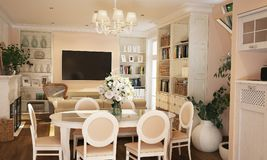 Interior da cozinha e da sala de visitas no estilo de Provence com mobília branca ilustração do vetor
