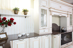 Interior da cozinha europeia moderna Fotos de Stock Royalty Free