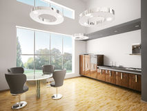 Interior da cozinha moderna 3d Fotos de Stock Royalty Free
