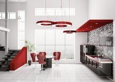 Interior da cozinha moderna 3d Fotografia de Stock