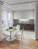 Interior da cozinha no apartamento moderno no estilo escandinavo Imagem de Stock