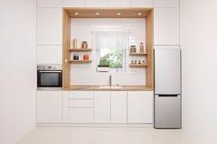 Interior da cozinha no branco e madeira com uma opinião da janela fotos de stock