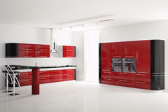 Interior da cozinha preta vermelha moderna 3d Foto de Stock Royalty Free