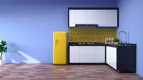 Interior da cozinha que cozinha o restaurante moderno 3d do alimento que rende o fundo home branco de projeto moderno para o espa Imagem de Stock