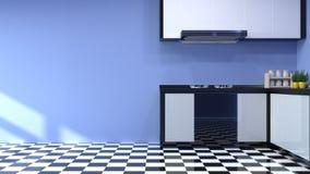 Interior da cozinha que cozinha o restaurante moderno 3d do alimento que rende o fundo home branco de projeto moderno para o espa ilustração royalty free