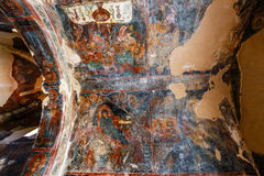 Interior da igreja bizantina three-aisled Panagia Kera na vila Kritsa, Creta, Grécia Fotos de Stock