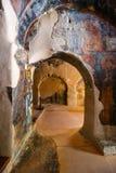Interior da igreja bizantina three-aisled Panagia Kera na vila Kritsa, Creta, Grécia Fotos de Stock Royalty Free