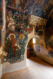 Interior da igreja bizantina three-aisled Panagia Kera na vila Kritsa, Creta, Grécia Fotografia de Stock Royalty Free