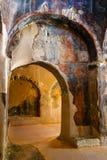 Interior da igreja bizantina three-aisled Panagia Kera na vila Kritsa, Creta, Grécia Imagens de Stock