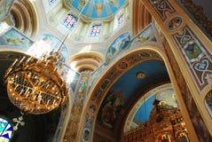 Interior da igreja católica grega ucraniana fotografia de stock
