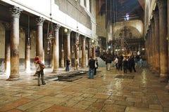 Interior da igreja da natividade em Bethlehem Fotografia de Stock Royalty Free