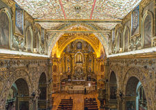 Interior da igreja de San Francisco, Quito Fotografia de Stock Royalty Free