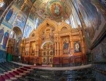 Interior da igreja do salvador no sangue derramado em Petersb Foto de Stock Royalty Free