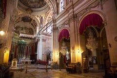 Interior da igreja na citadela - cidade Victoria, Gogo - Malta Fotografia de Stock Royalty Free
