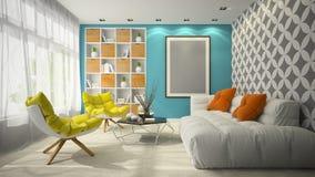 Interior da ilustração da sala 3D do projeto moderno Fotos de Stock Royalty Free