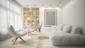 Interior da ilustração da sala 3D do projeto moderno Imagem de Stock