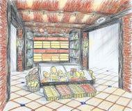 Interior da loja de mantimento com queijo e vinho Foto de Stock