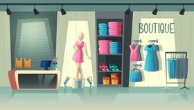Interior da loja da roupa do vetor, boutique da forma para dentro ilustração stock
