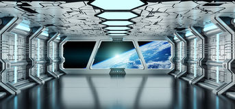 Interior da nave espacial com vista na terra 3D do planeta que rende o EL Imagem de Stock Royalty Free