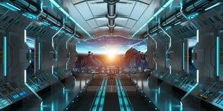 Interior da nave espacial com vista na terra 3D do planeta que rende o EL Foto de Stock Royalty Free