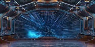 Interior da nave espacial do Grunge com vista na rendição da terra 3D do planeta Imagens de Stock