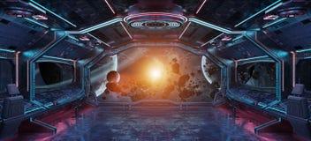 Interior da nave espacial do Grunge com vista na rendição da terra 3D do planeta Foto de Stock Royalty Free