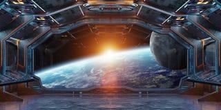 Interior da nave espacial do Grunge com vista na rendição da terra 3D do planeta Foto de Stock