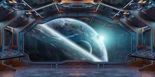 Interior da nave espacial do Grunge com vista na rendição da terra 3D do planeta Fotografia de Stock Royalty Free