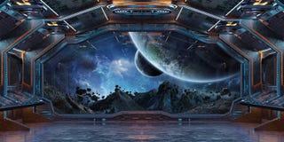 Interior da nave espacial do Grunge com vista na rendição da terra 3D do planeta Fotos de Stock Royalty Free