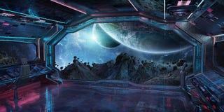 Interior da nave espacial do Grunge com vista na rendição da terra 3D do planeta Ilustração do Vetor