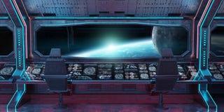 Interior da nave espacial do Grunge com vista na rendição da terra 3D do planeta Ilustração Royalty Free