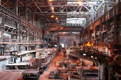 Interior da oficina metalúrgica da planta Fotos de Stock Royalty Free