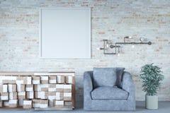 Interior da parede de tijolo com poltrona cinzenta e zombaria acima do teste padrão ilustração stock