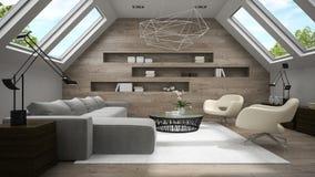 Interior da rendição à moda da sala 3D da mansarda Foto de Stock