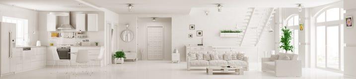 Interior da rendição branca do panorama 3d do apartamento Imagens de Stock