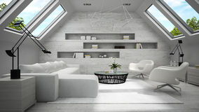 Interior da rendição clara à moda da sala 3D da mansarda Imagem de Stock