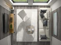 Interior da rendição da opinião superior 3D da sala do projeto moderno Foto de Stock Royalty Free