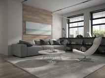 Interior da rendição da sala 3D do projeto moderno Imagem de Stock Royalty Free