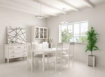 Interior da rendição da sala de jantar 3D Imagens de Stock Royalty Free