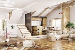 Interior da rendição moderna da casa 3d Fotografia de Stock