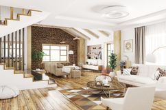 Interior da rendição moderna da casa 3d Fotos de Stock